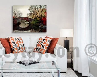 Large Canvas Art, Central Park,  New York Photography on Canvas Wall Art, Fall, Red, Brown, Rustic Fall Decor