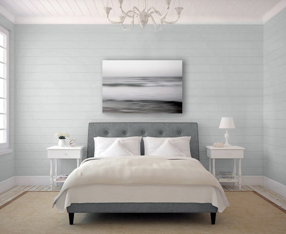 Large Abstract Canvas Art, Modern, Ocean Photography on Canvas Wall Art, Black and White Decor