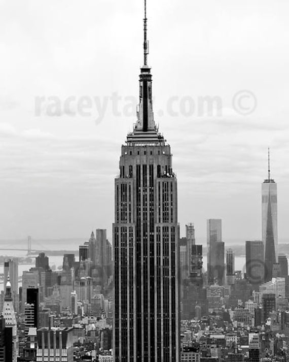 Manhattan Skyline, Black and White New York Photography, NYC Skyline, Empire State Building, World Trade Center