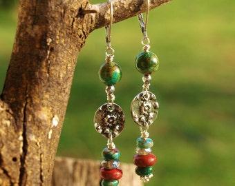 RARE Cuprite & Chrysocolla Earrings, Rustic Boho Chic, Pewter Flowers, Handmade Wearable Art, Handcrafted Artisan Sterling Silver Earrings