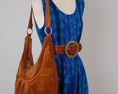 Vintage 70s HUGE brown leather HOBO purse / Bohemian leather bag