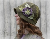 Reserved for Oana - First Payment - Linen Cloche Hat Spring Fern / Fairy hat