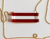 Holiday Candy Cane Striped Bar Necklace - Crimson Red Laser Cut Acrylic Bars - Long Chain - Christmas