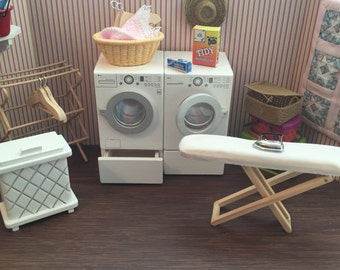 Miniature Laundry Room Set, Dollhouse Miniatures, 1:12 Scale, 5 PC Set, Washing Machine, Dryer, Hamper, Drying Rack & Ironing Board