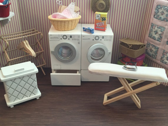 Miniature Laundry Room Set, Dollhouse 1:12 Scale Miniatures, 5 PC Set, Washing Machine, Dryer, Hamper, Drying Rack & Ironing Board
