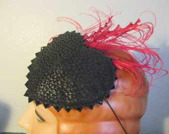 The Guadalupe - Black Leather Red Feathers Heart Fascinator swarovski rhinestone burlesque cocktail Day of the Dead