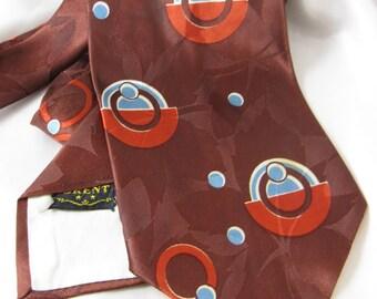 Vintage 1940s  Art Deco Design Burgundy, Orange & Blue Brent Neck Tie