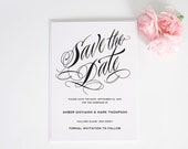 Gorgeous Wedding Save the Date Card in Black and White for a Fresh, Chic, Modern, Spring or Summer Wedding - Ravishing Script Deposit