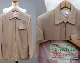 Vintage 50s Gabardine Jacket - Sport Pal by Royal Men's Sportswear - Rockabilly Gab