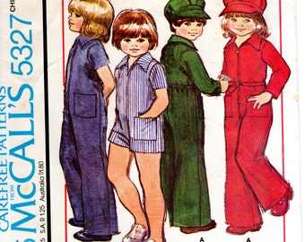 1970s Kids Coveralls Jumpsuit & Engineer's Cap - Vintage Pattern McCall's 5327 - Size 4