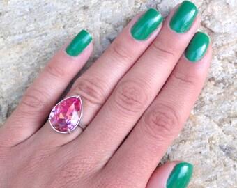 Rose Pink Swarovski Crystal Pear Shaped Silver Statement Ring, Pink Rose Crystal Pear Shaped Ring,June Birthday Gift Idea, Pink Crystal Ring