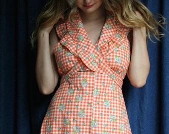 1970's Halter Dress / Festival Maxi Gown / Orange and White Checkered Picnic Dress / Ethereal Dreams Dress / Haute Hippie Hipster Boho Dress