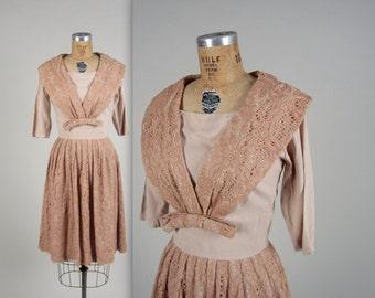 1960s sailor collar dress • vintage 60s dress • lace day dress