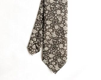 Dom - Gray Floral Men's Tie