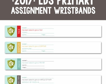 2017 LDS Primary Theme-Sharing Time Wristbands-Sharing Time Assignment Printables