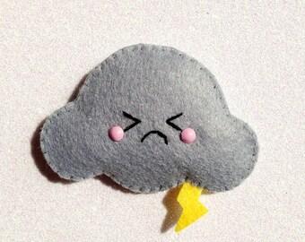 Thunder Cloud Felt Brooch / Hair Clip, angry cloud accessory, cute felt brooch, kawaii felt hair clip, felt grey cloud, polyester eco felt