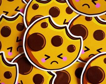 Sad Cookie Sticker 10cm, vinyl laptop sticker, cute cookie sticker, food sticker, kawaii vinyl sticker, cute stationery, kawaii food