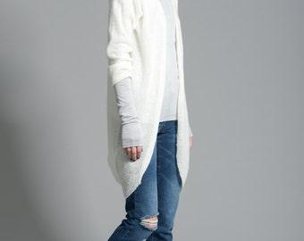 Long Wool Cardigan / Oversize Sweater / Wool Sweater / Loose Cardigan / Jumper / marcellamoda - MC167