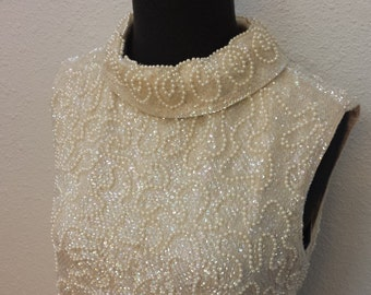 Cream Sequin Beaded Top and Skirt Vintage 1960's