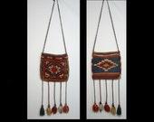 Reversible hand made 60s 70s woven wool tapestry satchel shoulder bag carpet purse long fringe tassels ~ ethnic blue brown rust orange ooak