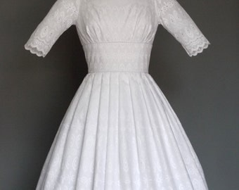White Broderie Anglaise Cotton 1950s Audrey Wedding Dress - Made by Dig For Victory