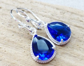 Sapphire Blue Earrings, Blue Glass Teardrop Earrings, Sterling Silver Earrings, Bridesmaid Jewelry, Gift, Wedding, Ocean Blue