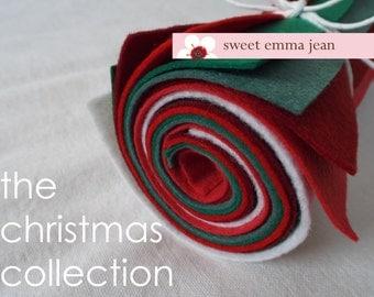 Christmas Felt - 9x12 Wool Felt Sheets - The Christmas Collection - 8 Sheets of Felt