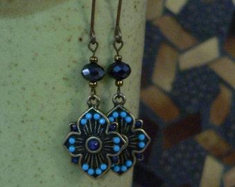 Blue earrings, blue and turquoise, sallysbeadsnc, dangle earring, turquoise and blue, long earring, boho earring, delicate earring