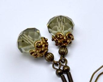 Smoky Quartz Earrings, Brown Crystal Earrings, Antique Brass Earrings, Brown Earrings, Filigree Earrings, Victorian Earrings Bridesmaid Gift