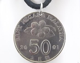 Malaysia Coin Necklace, 50 Sen, Mens Necklace, Womens Necklace, Coin Pendant, Leather Cord, Birth Year, 2001