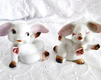 Vintage Ceramic Rabbit Pair Made In Japan Hand Painted Bunnies