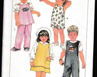 Simplicity 6730 Childs Pullover Sundress, Jumper or Top, OverAlls and Pull-On Pants