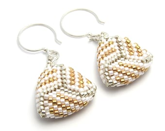 Wedding earrings - bridal earrings - beaded triangle earrings - peyote stitch earrings - bead woven earrings - beaded earrings
