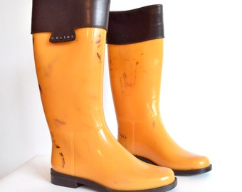 CELINE tall rubber boots w/leather cuffs / 8