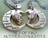 Set of 2 Mother Daughter Necklaces, Mom Gift, Mommy, Girls, Teens, Womens Gift, Personalized, Initial, Letter Charm, Birthday Gift
