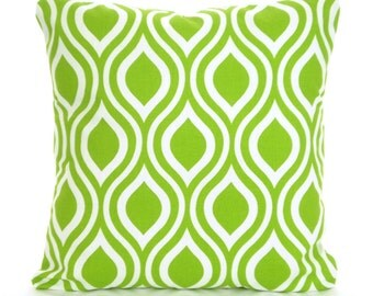 Green Pillow Covers, Decorative Throw Pillows, Cushion Covers, Green White Nicole, Couch Bed Sofa Pillows, Geometric, One or More ALL SIZES