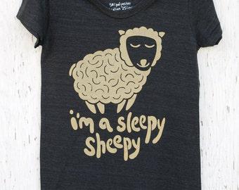 Cute hand silk screened women's graphic tee - Sleepy Sheepy