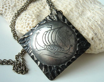 Vintage Norwegian Pewter Necklace Pendant Signed Rolf Buodd - Norsk Håndarbeide - Viking Ship - Scandinavian - Mid Century