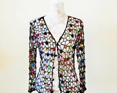 BIG ASS SALE vintage 90s crochet open weave beaded floral cardigan top multi colored boho sheer layering piece