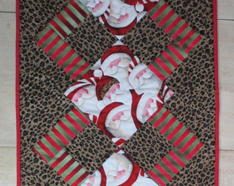 Santa Quilted Table Runner with Leopard Print Quiltsy Handmade