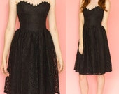 Vintage Gunne Sax Jessica McClintock Black Lace Strapless Valentines Day Dress Size XS
