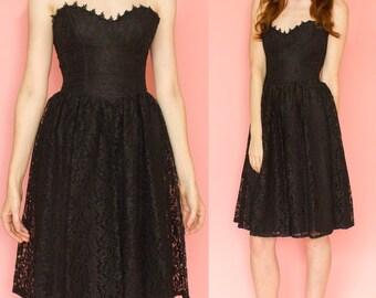 Vintage Gunne Sax Jessica McClintock Black Lace Strapless Valentines Day Dress Size XS