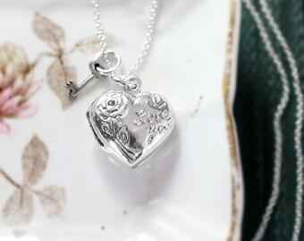 Tiny Heart Locket Necklace, Sterling Silver Vintage Pendant w/ Key Charm - Key to My Heart