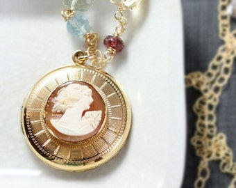 Vintage Gold Locket Cameo Necklace, Bates & Bacon Round Photo Pendant with Special Chain of Gems - Rare Beauty