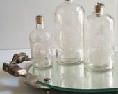 Vintage Mirror Vanity Tray with Silver Metal Ribbon and Bow Handles. Vintage vanity tray. Vintage Chic Home Decor.