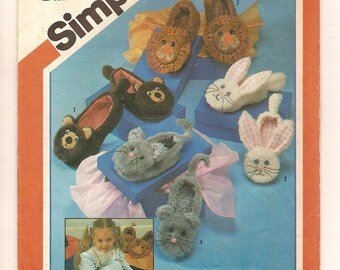 Vintage Animal Slippers Pattern -Bunny Rabbit, Lion, Bear, Mouse -1980s Simplicity 6231 Multi Size Small Medium & Large UNCUT
