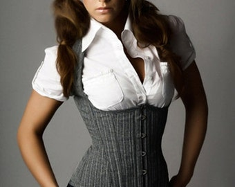 Grey Pinstripe Weskit Style Corset - Your Size