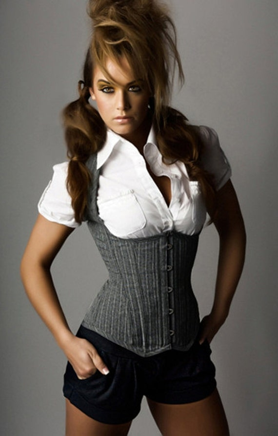 Grey Pinstripe Weskit Style Corset - Your Size