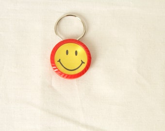 vintage SMILEY FACE  mid 90s keychain rare find RED & yellow vintage keychain