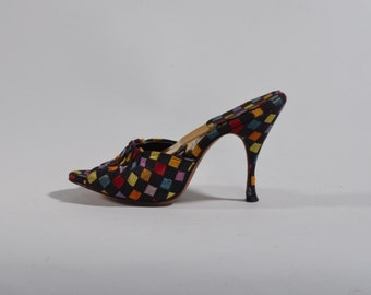 Vintage 1950s Black Springolator Shoes - Checkered Multi Colored High Heels - Pin Up Fashions